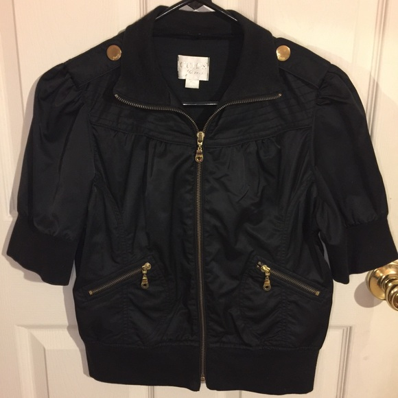 cfc16a79c Guess Cropped Black Satin Gold Bomber Jacket Short